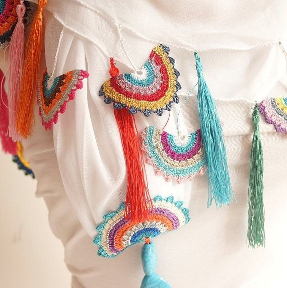 White and spring colors Cotton with Handmade Turkish OYA by Periay, $55.00