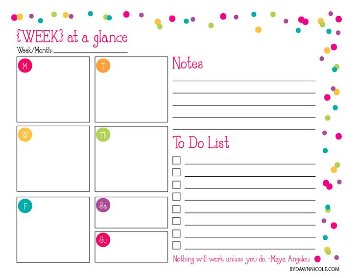 Organizational printables daily weekly organization for Day at a glance calendar template
