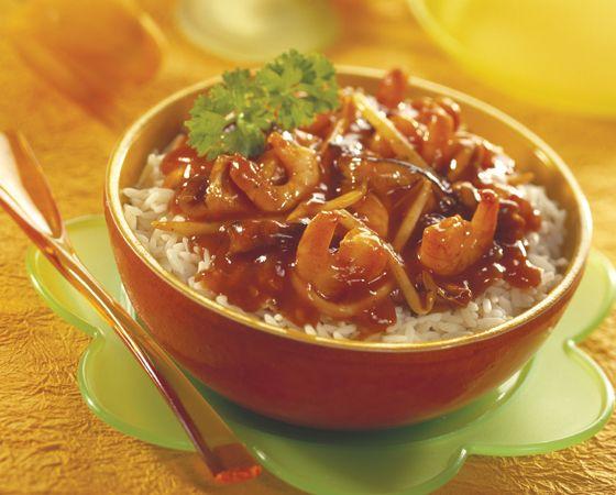 Creoolse rijst met mango en garnalen (je kunt de garnalen ook vervangen door kipfilet als je niet van vis houdt)