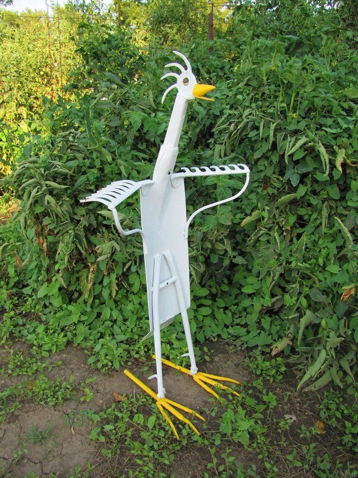 Funky Chicken- One of a Kind Metal Art Sculpture made with Antique, Vintage and Salvaged Metal- Yard Bird- Garden Sculpture. $119.00, via Etsy.