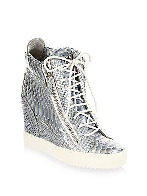 Giuseppe Zanotti - Lamay Lorenz Leather Wedge Sneakers