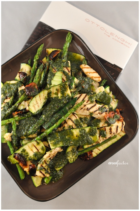 Ottolenghi grilled vegetables and halloumi with basil dressing