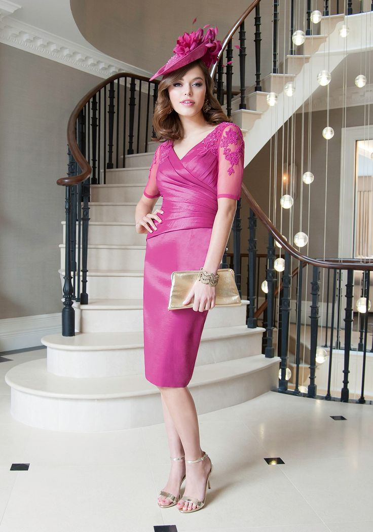 Ispirato Embellished Mesh Sleeve Ruched Dress, Fuchsia Pink