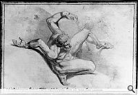 Johann Heinrich Füssli: Akt eines Gefesselten, 1770-71 (Fünf-Punkte-Zeichnung). Bleistift, Feder in Braun, grau laviert auf Papier, 14 x 20,5 cm; Kunsthaus Zürich, Grafische Sammlung