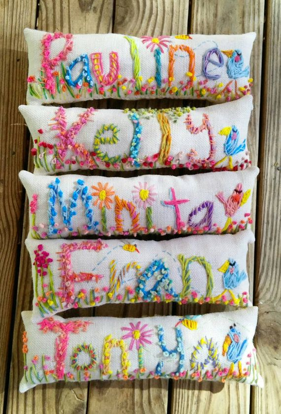 Free hand Embroidered Bohemian Name Pillow Made To by YelliKelli
