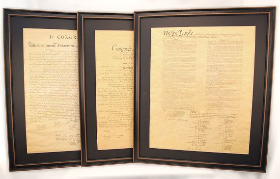 Poster Size Framed Constitution, Bill of Rights and Declaration of Independence Set of 3 with Black Matte