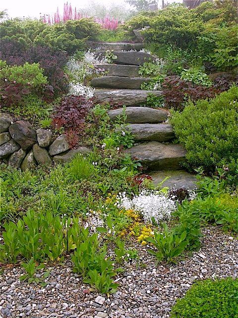 17 best images about slope downhill garden on pinterest for Sloped rock garden designs