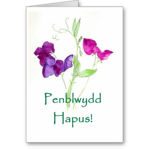 A pretty birthday card with pink and purple sweet peas and a Welsh greeting, from a watercolour painting by Judy Adamson: up to $3.50 - http://www.zazzle.com/sweet_peas_birthday_card_welsh_greeting-137494651869463093?rf=238041988035411422&tc=pintw