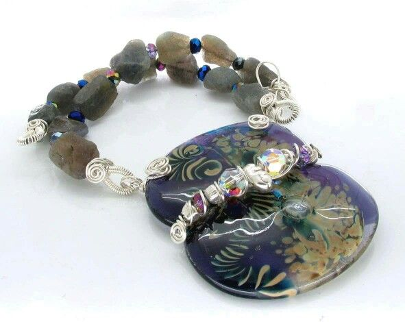 Fused glass pendant with wirework and labradorite