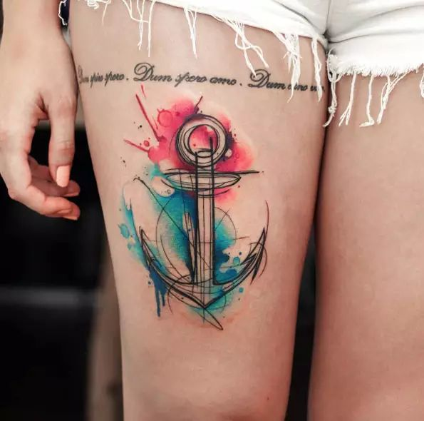Watercolor anchor tattoo on thigh by Uncl Paul Knows