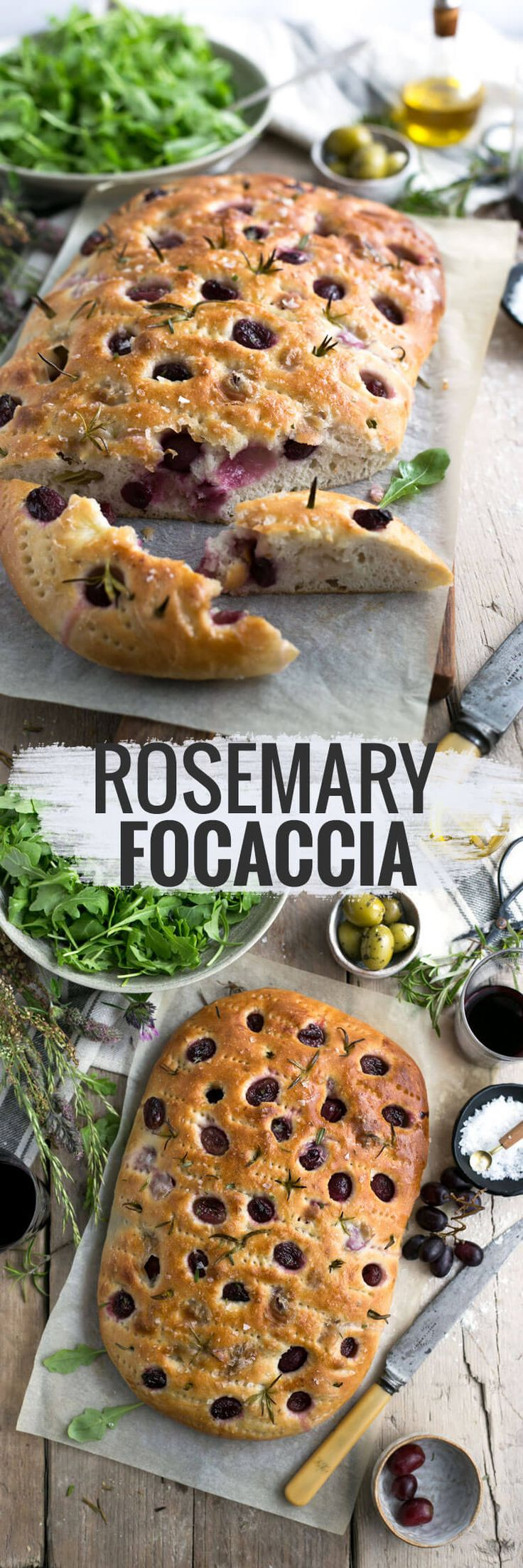 Traditional rosemary focaccia with red grapes, sea…