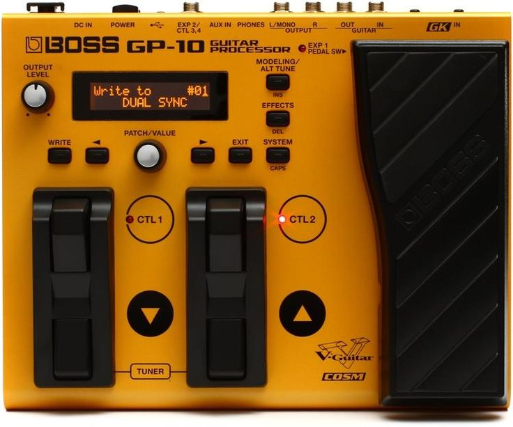 Boss GP-10. The Boss GP-10 is a compact guitar processor unit that goes the extra mile, giving you Synth/MIDI effects which are simply not available from others of the same price range.