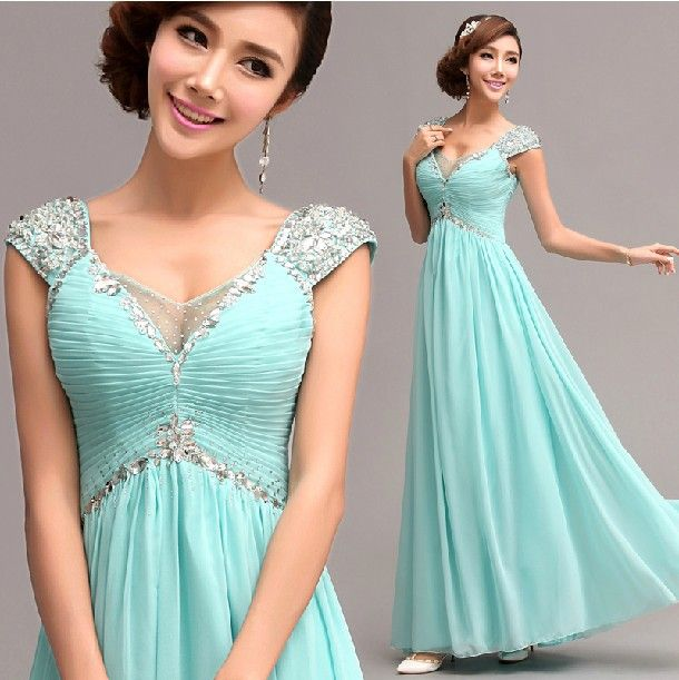 Free Shipping Cap Sleeve Evening Gowns With Rhinestones Crystal V Neck Sexy Prom Party Formal Homecoming Dress Plus Size SD205 US $76.99