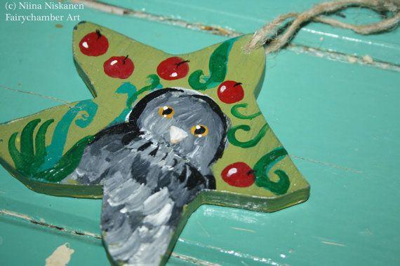 Dream Owl Wooden Ornament Animal Art Bird Art Acrylic Wooden Hanger Berries Magical Nature Owl Ornament Spirit Animal Bird Mythology