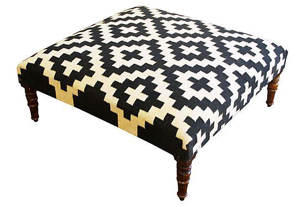 Woolen Kilim Ottoman    Divine Design    $549.00
