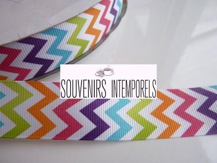 Ruban tissu grosgrain 22mm chevrons zigzags multicolores parfaits thème arc-en-ciel, rainbow  : Autres Scrapbooking par souvenirs-intemporel...
