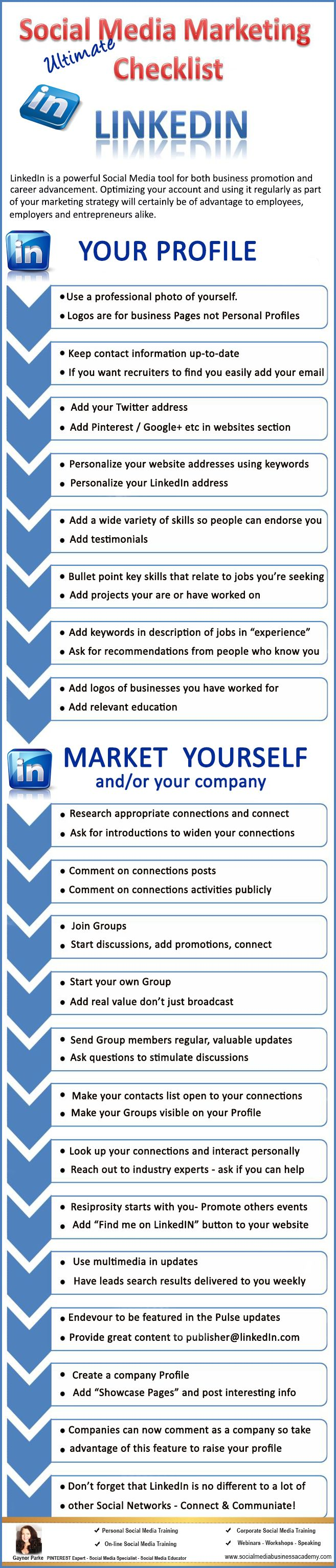 Your ultimate LinkedIn checklist. For more Social Media tips and resources visit www.socialmediabusinessacademy.com LinkedIn Infographic