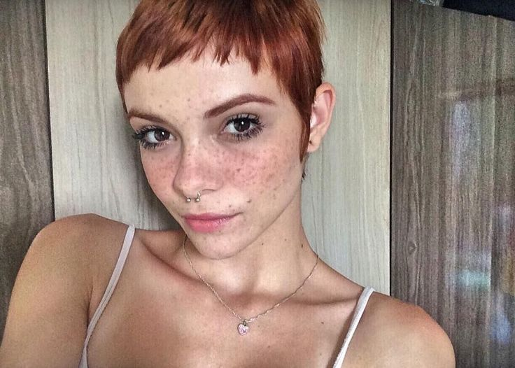 Super-Short Dark-Auburn Pixie Cut With Super-Short Bangs
