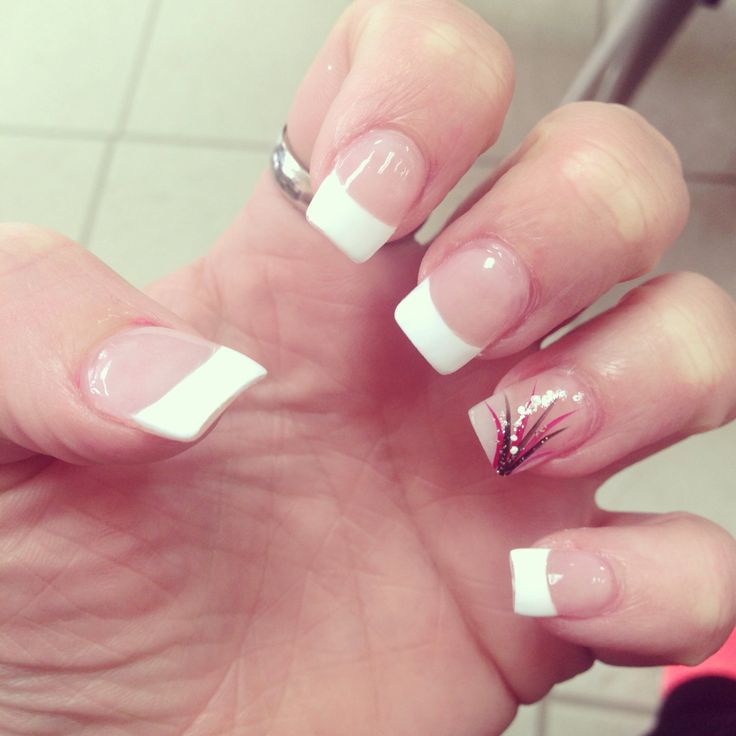 Cute White Tip Nails: French Tip With Black, Red, White And Sparkle Design