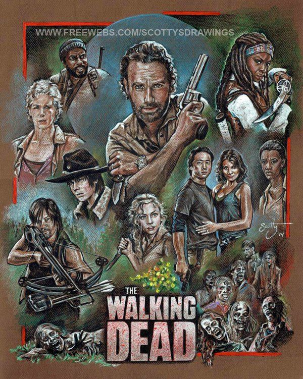"""This drawing features portraits of the cast from the AMC series """"The Walking Dead""""...featured are...Rick Grimes (Andrew Lincoln), Daryl Dixon (Norman Reedus), Michonne (Danai Gurira), Glenn (Steven..."""