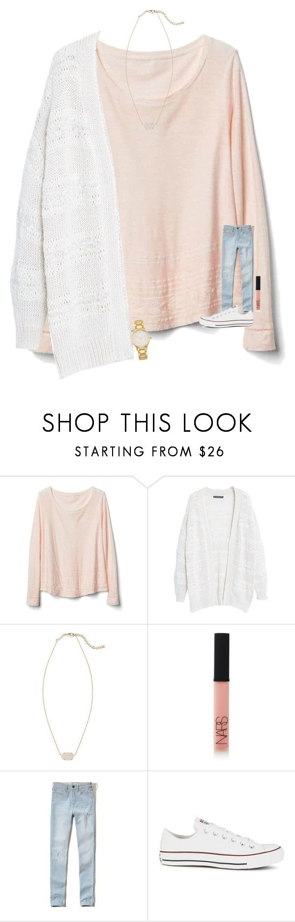 """""""gotta do some hw """" by madelinelurene ❤ liked on Polyvore featuring Gap, Violeta by Mango, Kendra Scott, NARS Cosmetics, Hollister Co., Converse and Kate Spade"""