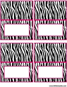 Free Pink Zebra Birthday Party Food Cards Printables & Cupcake Toppers