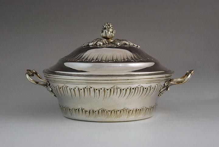 Antique french silver covered vegetable serving dish, Paris