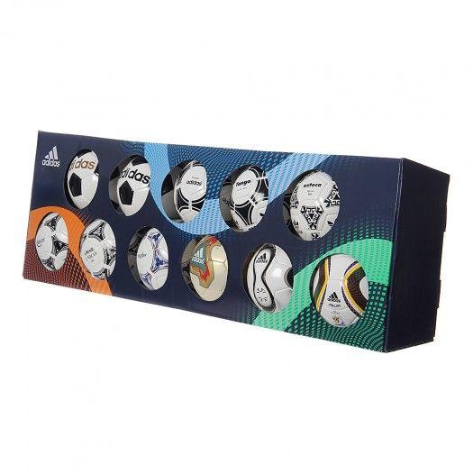 Para los verdaderos fanáticos del fútbol y de los mundiales llega la Colección de Balones Adidas Copa del Mundo FIFA Mini. Desde 1970, Adidas ha sido el proveedor oficial del balón desde el Telstar, pasando por el Tango, Azteca, Etrusco, Questar, Tricolore, Fevernova, hasta el Teamgeist y el Jabulani. ¡Tienes que tener la Colección de Balones Adidas Copa del Mundo FIFA Mini!
