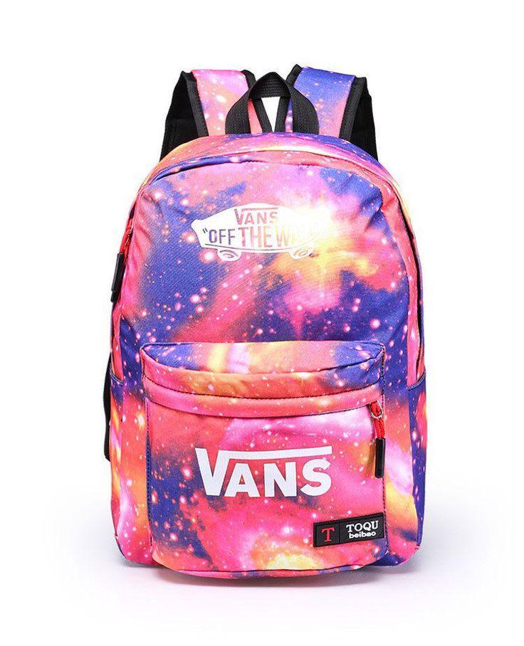 Vans School Backpacks Cute Trends 2015 Galaxy Girls Unisex Book Bags Pink