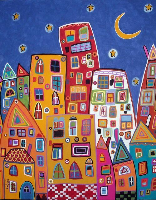 Abstract City 16x20 original folk art abstract modern cityscape painting on stretched canvas by Karla G: