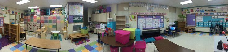 This is pano 2 of 2 of my classroom after my first day of work. My next steps are to paint the tall bookshelf behind my small group table and maybe also my shorter cascading bookshelves and then to start unpacking all the stuff from the closets!!