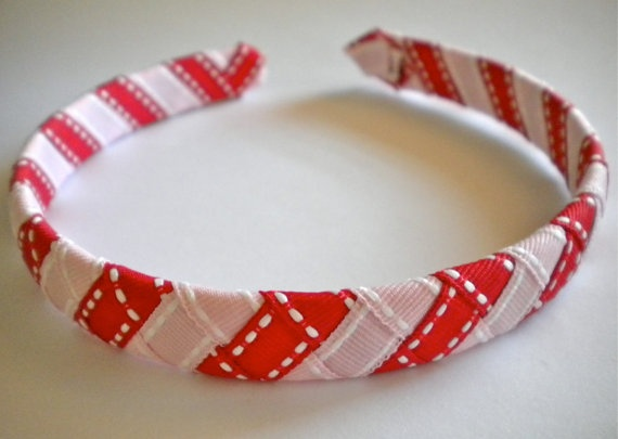 Woven Headband in Red and Pink Stripes, by MommyandMeBoutique8Red And Pink, Pink Stripes