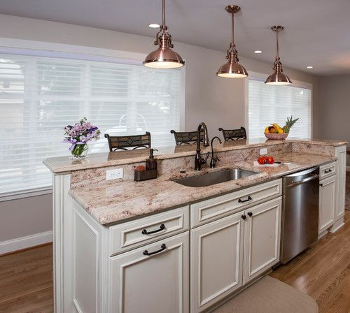 Kitchen Sink Island : Two tier island with sink and dishwasher - would prefer the second ...