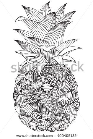 Artistic pineapple on white background. Hand-drawn, doodle, vector, zentangle, tribal design element.  Black and white  background. Made by trace from sketch. Zen art. Coloring book page for adult.