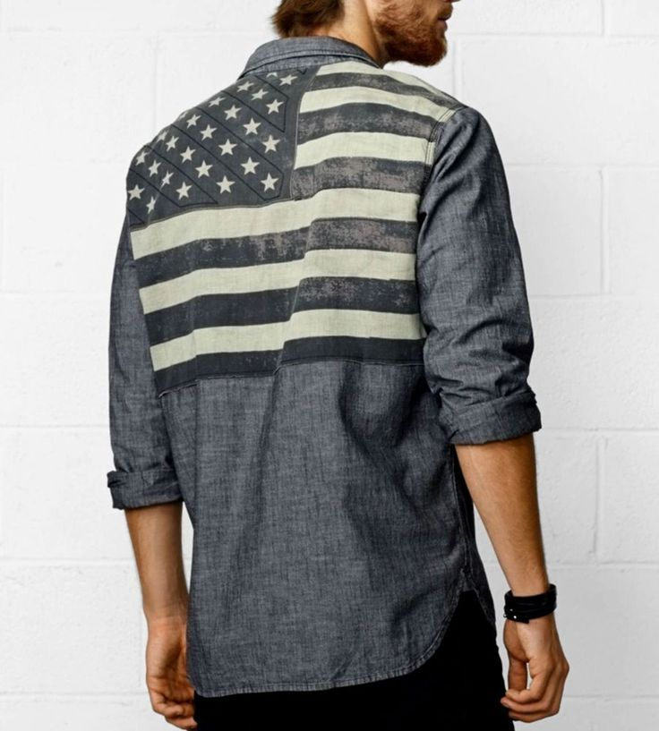 NWT Ralph Lauren DENIM & SUPPLY Distressed Shirt BLACK American Flag USA Mens M #DenimSupplyRalphLauren #ButtonFront
