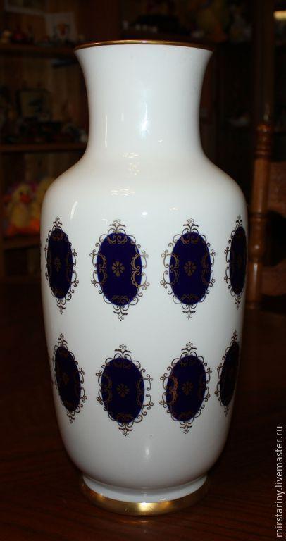 Купить Большая, фарфоровая ваза, отделка кобальт с золотом, Германия, 1945+ - темно-синий