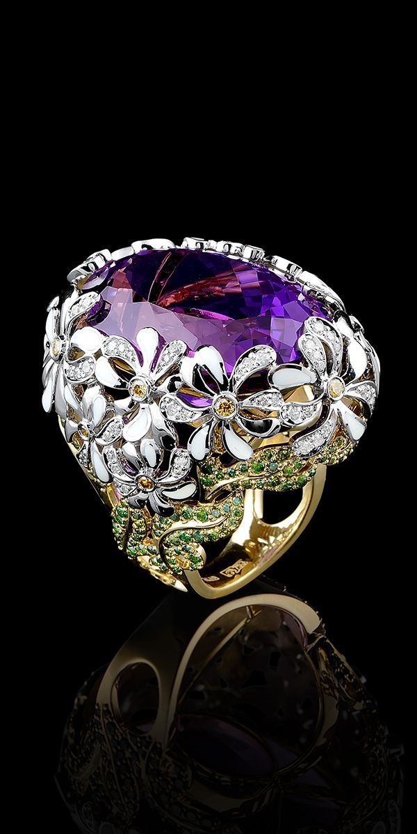 Master Exclusive Jewellery - Collection - Bouquet of love Yellow and White gold,amethyst,green diamonds,yellow diamonds