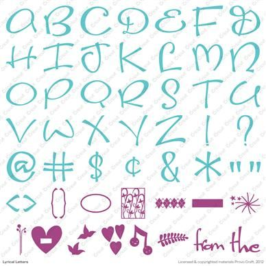 20 best images about scrapbooking cricut lyrical letters for Cricut lettering machine