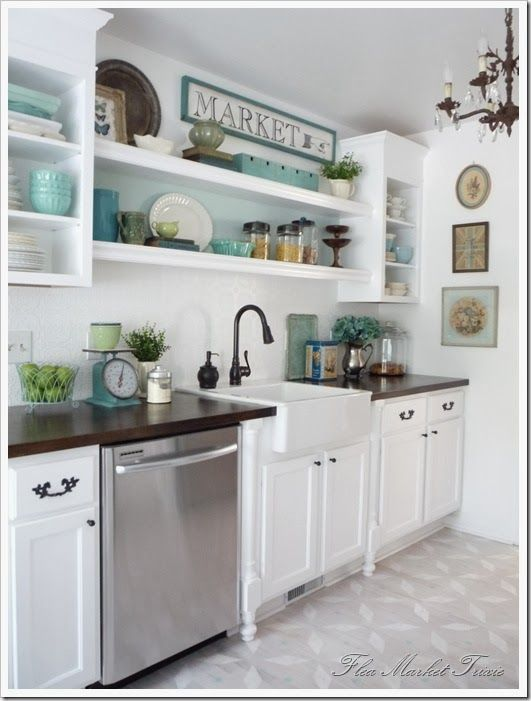 open kitchen cabinets | Flea Market Trixie goes for the open shelf concept and comes out with ...