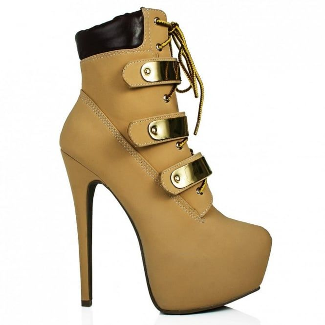 Buy FERRARI Heeled Platform Hiker Ankle Boots Tan Leather Style Online