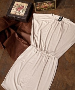 Elastic waistband dress in ivory by IS Clothing