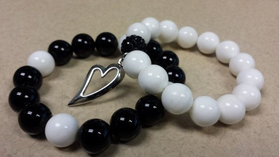 12mm Black Onyx Bead, 12mm Snow White Mountain Jade Natural Gemstone with Silver Heart Charm