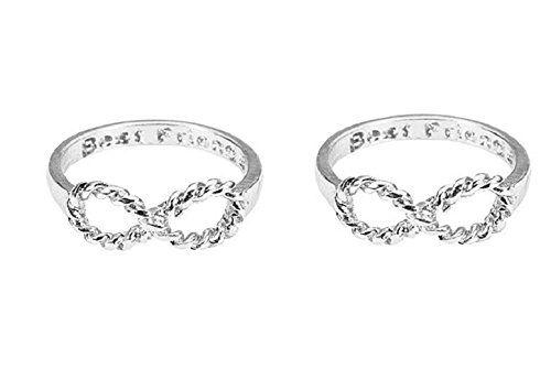 Juego de 2 anillos Idea símbolo de infinito e internos Escrito mejores amigos regalo de plata en color