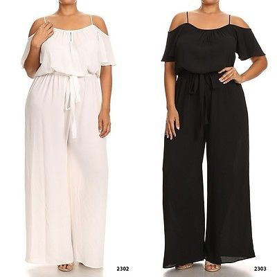 Jumpsuits And Rompers: Plus Size Jumpsuit Ruffle Open Shoulder Wide Leg Black White Cruise Vacation -> BUY IT NOW ONLY: $39.99 on eBay!