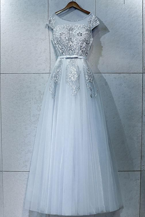 35e68f52ecd Gray round neck lace tulle long prom dress
