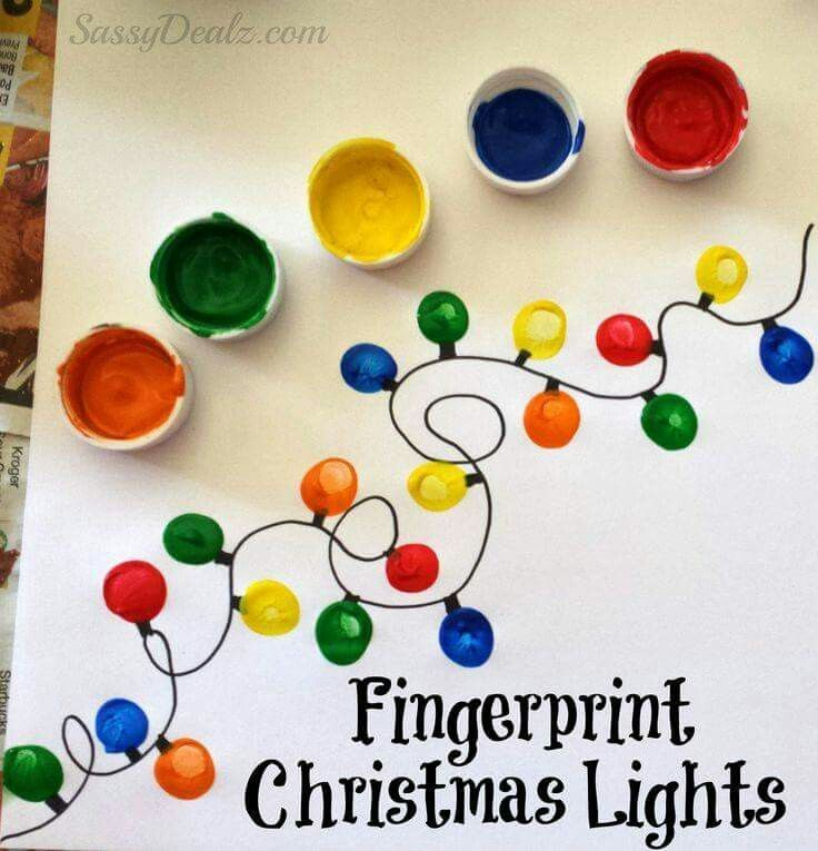 Finger print lights. I did this for a 3rd grade class Christmas party station. I drew the light strands ahead of time with a black sharpie on a small canvas for each student. Then set out a paint palette for the lights. We didn't have a ton of time. It went well and they turned out great.