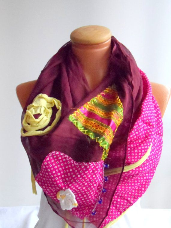 Ethnic scarf OOAK authentic handmade scarf burgundy and by Ellde