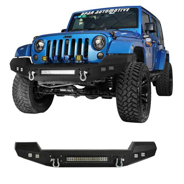 Fit 07 17 Jeep Wrangler Jk Opar Rock Crawler Front Bumper W Led