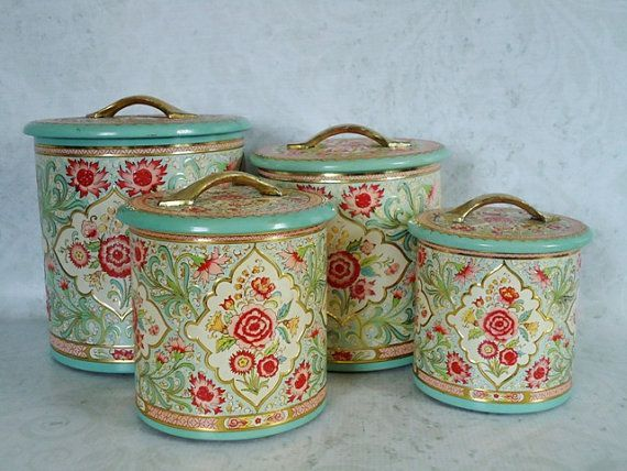 Good Vintage Turquoise Pink And Gold Floral Kitchen Canister Set