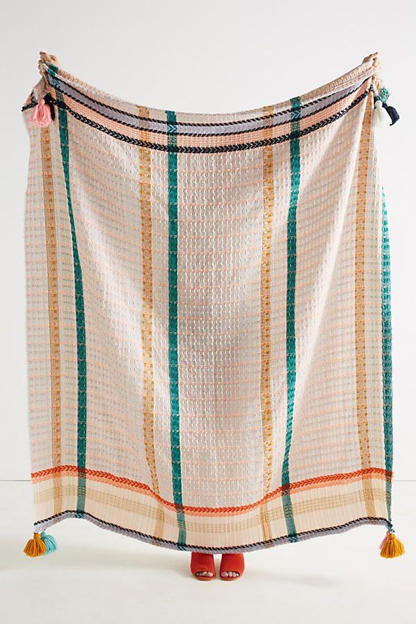 Slide View: 1: Tasseled Grid Throw Blanket